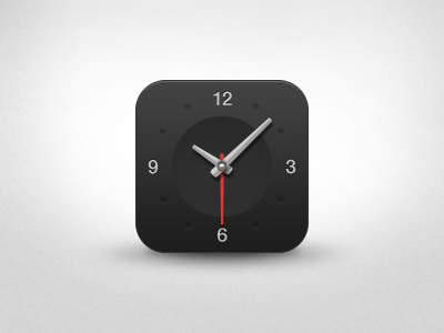 Dark Clock App Icon [PSD] clock iphone app icon psd watch dark