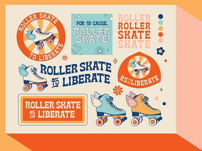 Rollerskate to Liberate vintage design vector illustration branding and identity social branding design fun modern vintage branding skating