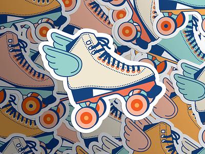 Roller Skate to Liberate Illustration logodesign vector branding and identity roller blade skating rollerskate flat vector illustration branding design logo branding