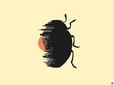 Sun Rise Inside beetle bug insect sunrise sun rise art digital illustration illustration