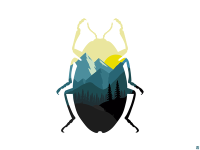 Blue and Yellow landscape silhouette nature beetle digital illustration illustration