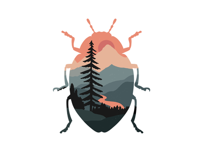 Orange and Grey forest mountains landscape beetle bug nature procreate graphic art digital illustration illustration