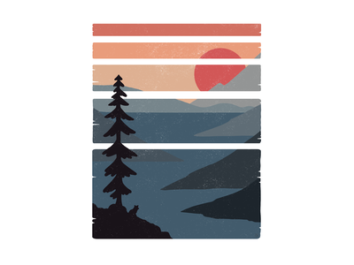The View tree nature orange red blue silhouette landscape digital illustration illustration