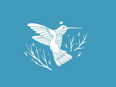 Humming Bird King bird logo minimal bird illustration digital illustration