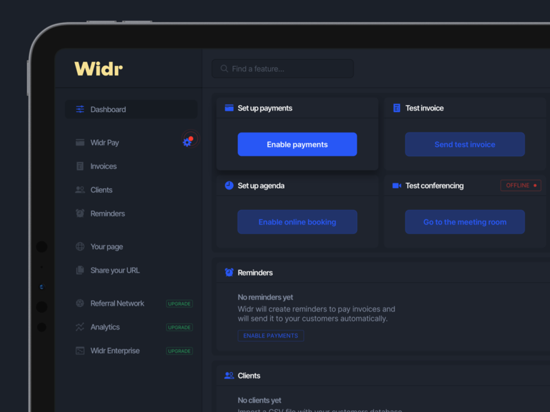 Widr Dashboard Dark