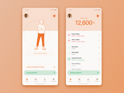 Widr Pay Lite (concept) icons tabbar list item list transaction stripe character color app fintech invoice finance payment pay
