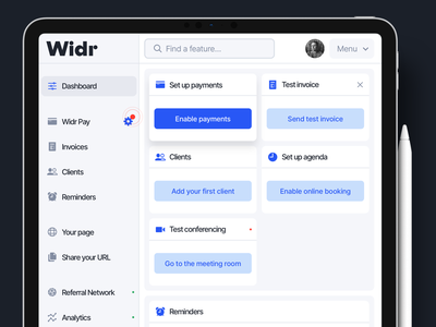 Widr for iPad navigation menu settings money billing finance invoicing invoice legaltech fintech mobile tablet ipad admin dashboard