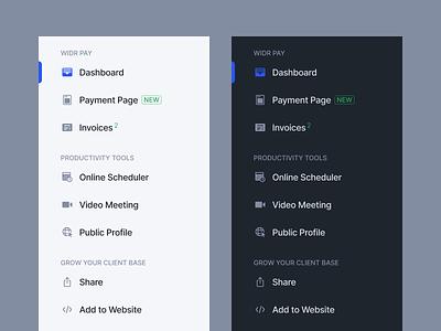 Widr Pay Sidebar billing interaction menu ux dark navigation payment invoice legaltech fintech finance ui interface sidebar