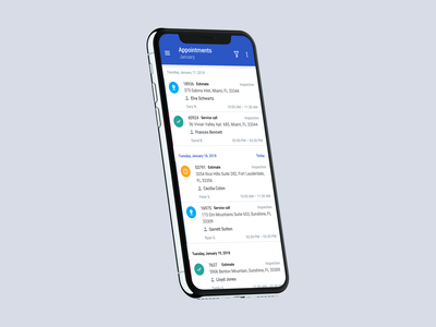 Appointments clean ios material m ux ui interface iphone design list app calendar scheduler