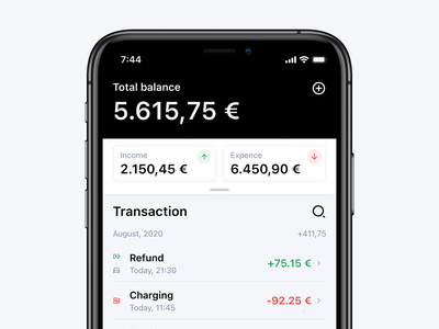 CHRG Network income expenses minimalistic fintech banking location direction map electric station charging car automotive clean interaction dark iphone interface ux ui
