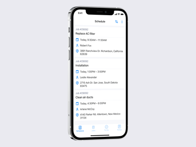 Schedule screen sort list feed action filters ux clean interaction design iphone ios interface ui