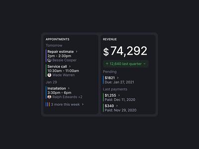 Activity widget ux design payment feed calendar events financial dashboard activity widget dark ui dark interface ui