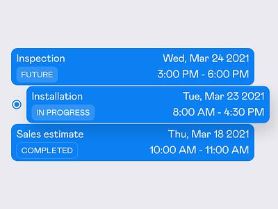 Latest appointments list clean interface design ui event status calendar select list item list ui cards card
