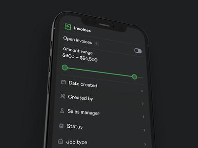 Invoice filters screen filtering phone mobile mockup dark ui menu filter filters app ux clean dark iphone ios interface ui