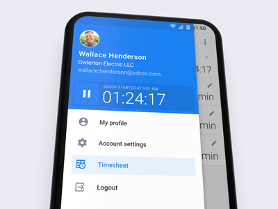 Timesheet Mobile Timer material ui navigation drawer ux ui clock stopwatch navigation menu android material timesheet timer interface mobile app design product design mobile