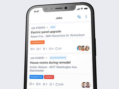 Job card mobile tags light job management list item ui interface ios mobile design product design card