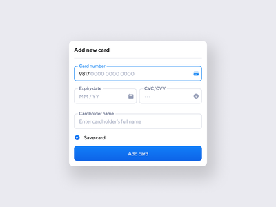 Add new card minimal payment ux inputs ui interface design button user interface form web design product design credit card