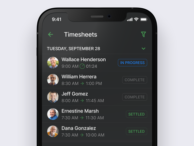 Timesheets mobile dark interface app ux ios iphone refactoring users list dark ui dark schedule clock in job management project management time tracking interaction ui mobile product design