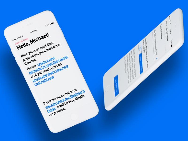 Hearty App interface ui ios minimalistic social notification blog publishing