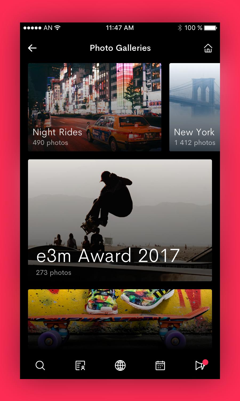 Photo galleries screen