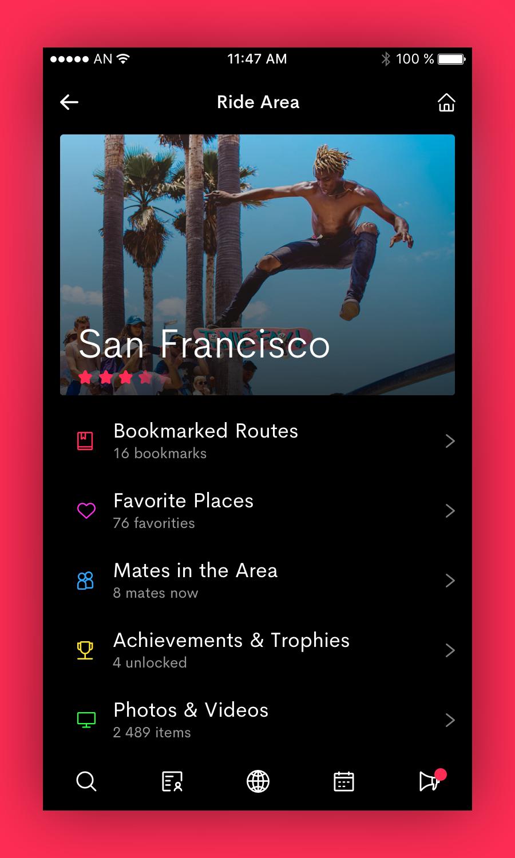 Ride area menu screen