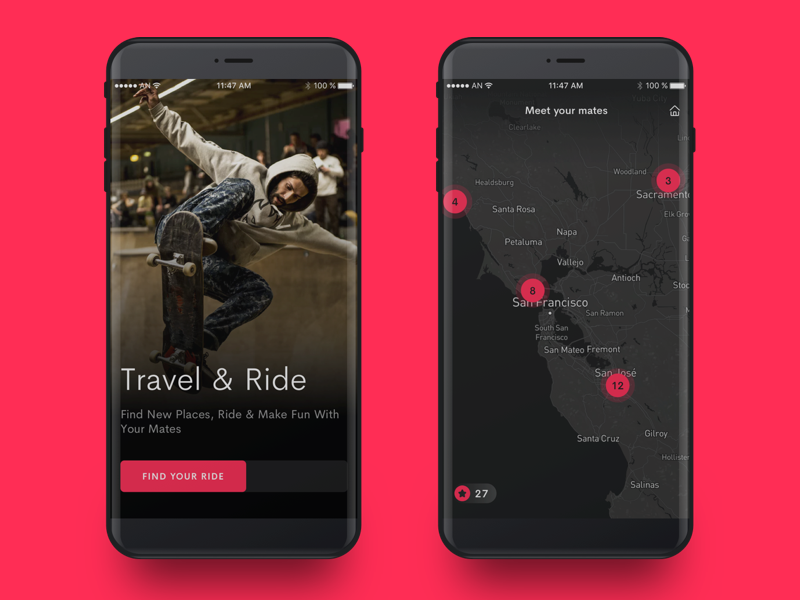 Welcome and Map Screens ios 11 ux ui skateboard ride iphone ios interface dark