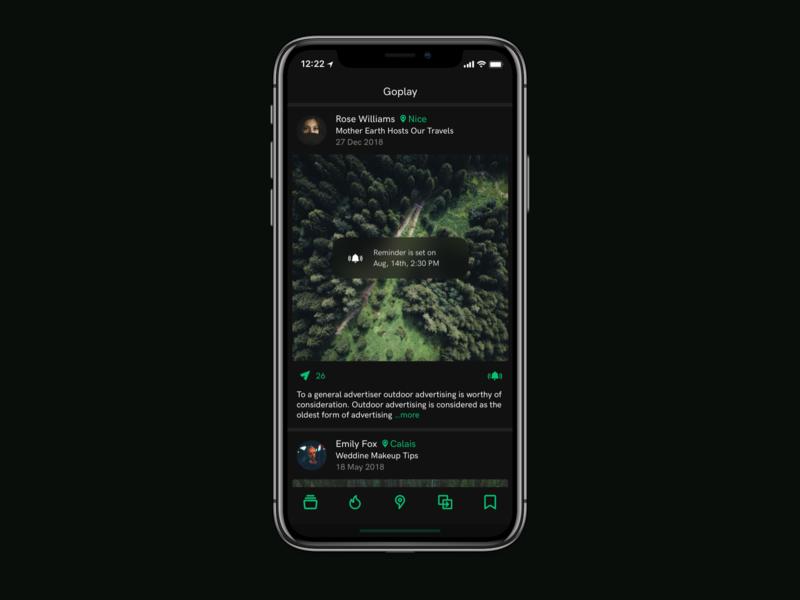 Goplay Discover App design iphone interface app ios ux ui dark