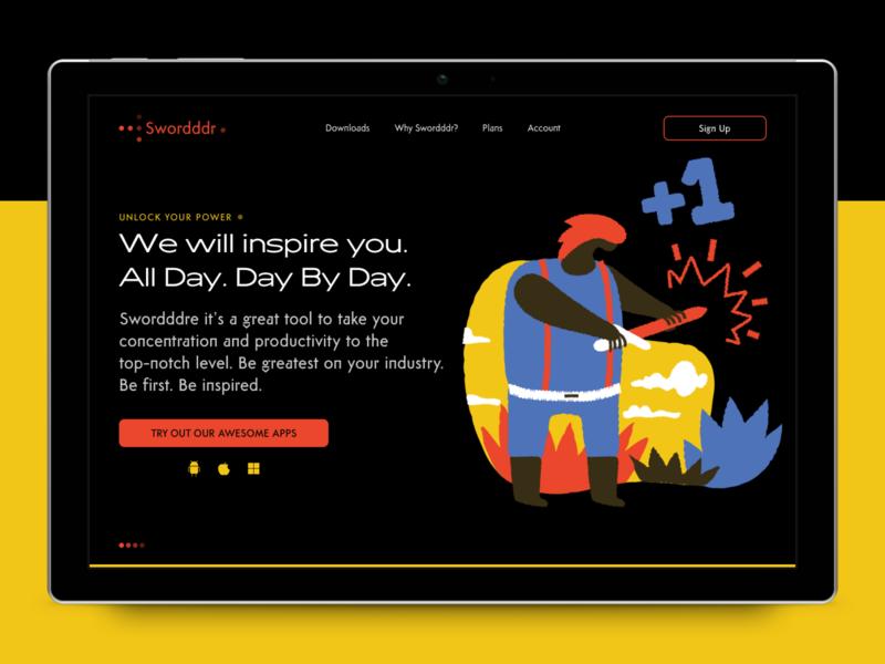 Swordddr typography dark smooth illustration interface landing page charachter design ui