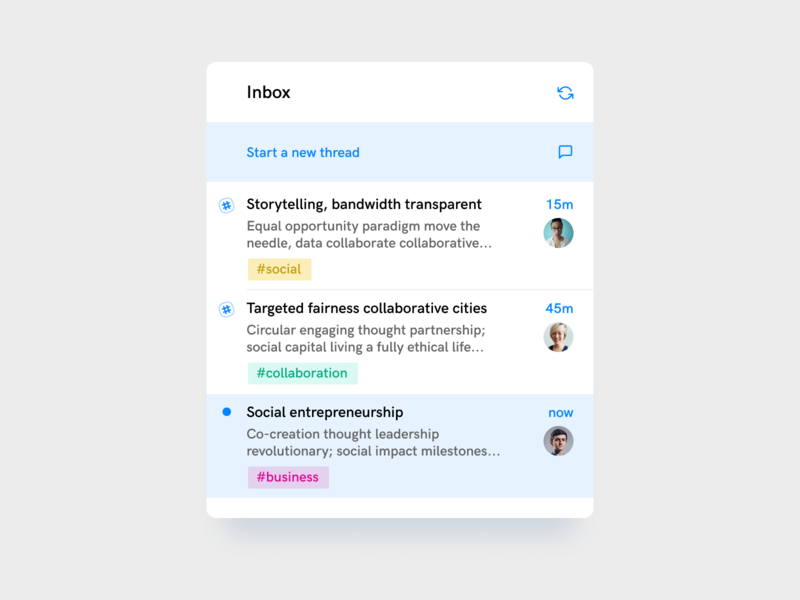 🏷 Inbox and Tags ui interface app inbox chat communication design ux clean