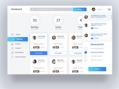 Work Management Dashboard design sketch meeting project event ux user interface ui dashboard work management
