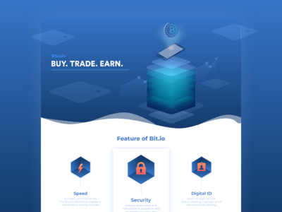 cryptocurrency website homepage blue isometric icon gradient web ui page landing illustration bitcoin crypto desktop