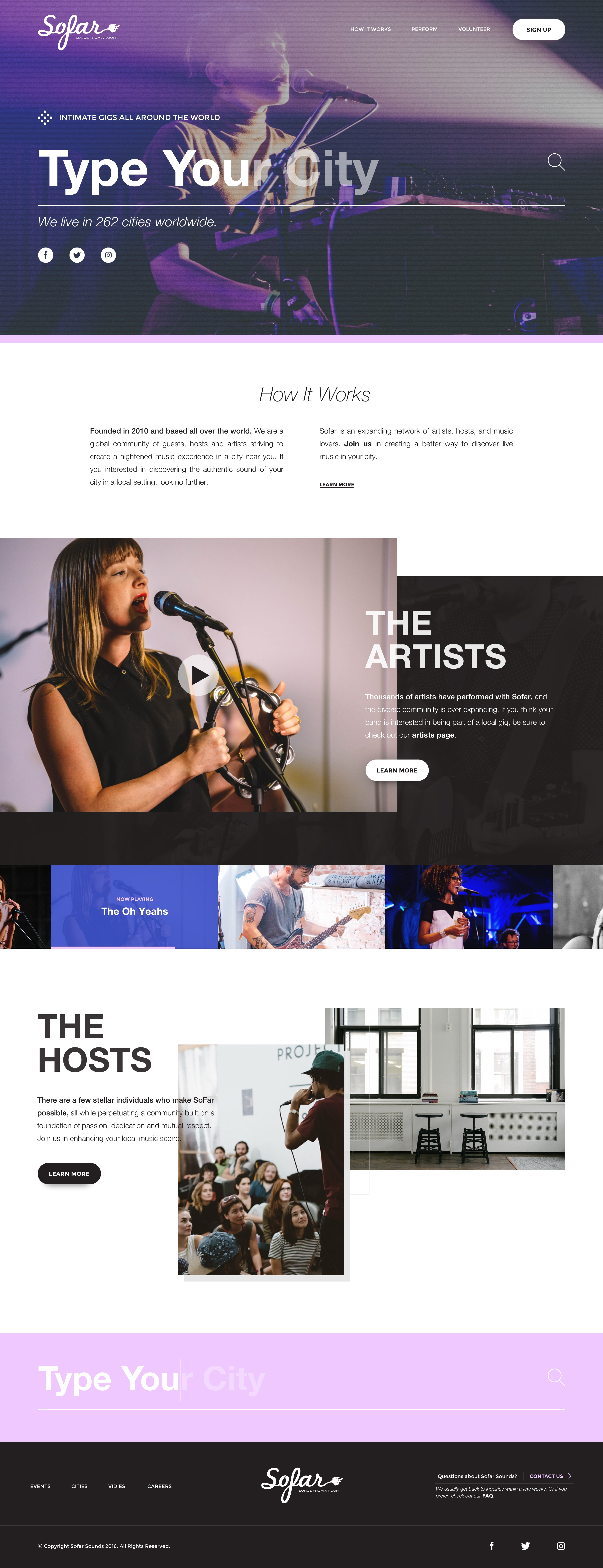 Sofar homepage