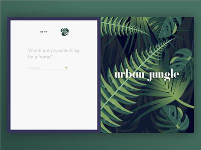 Urban Jungle real estate form plants illustration on-boarding landing design urban