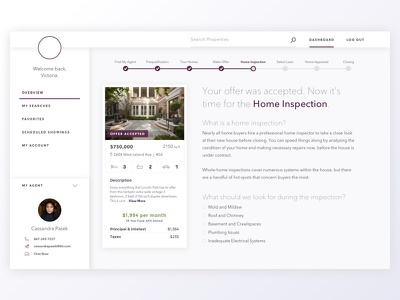Home Buying App side nav step form data visualization ux ui design dashboard