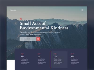 Ecobyte website philanthropy ux ui landing homepage design environmental environment