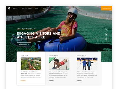 Utah Olympic Park Homepage olympics athlete non profit utah photography graphic design website ui ux homepage web design landing design