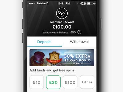 Betable Wallet ui design responsive app payment wallet