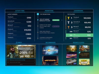 Betable Player Dashboard san francisco promotions activity feed leaderboard gambling games web design ui dashboard