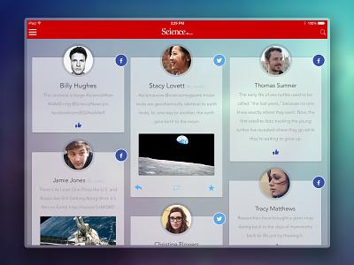 Science News social dashboard science social feed ipad visual design ui