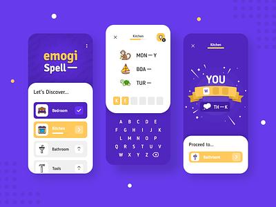 Spell-emoji quiz UI design spelling words ranimmoe uxui ui design quiz guess emoji game app mobile appdesign