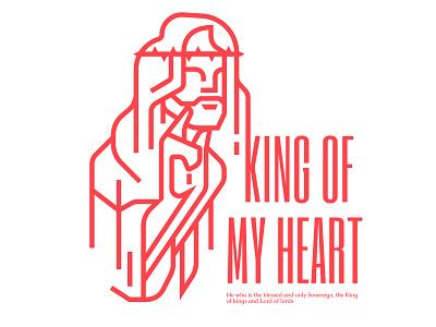 Christ risen king line illustration art design
