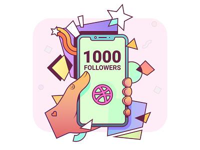 1000 Followers followers 1000 illustraion vector illustration art design