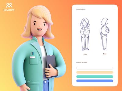 Emily Keycare doctor character 3d branding ux ui illustration art design