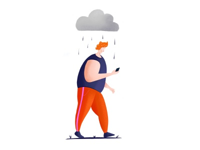 Rainy Day ginger rainy procreate app design illustration art