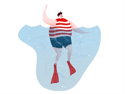 Swimmer diving snorkeling water swimmer swim illustration art
