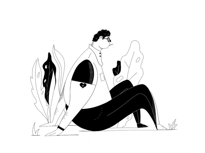 26th black  white black 26th illustration art