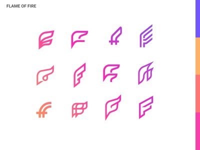 F Letter mark letter design logo flame fire