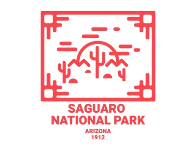 Saguaro National Park desert park national saguaro az vector logo art illustration design