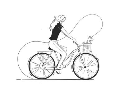 Girl on Bike blackandwhite procreate puppy girl bicycle art design illustration