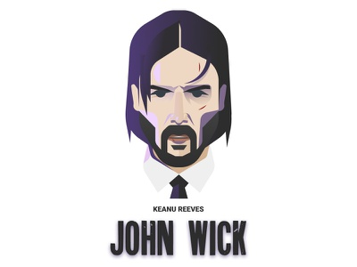 John Wick character film keanu reeves vector illustration art design